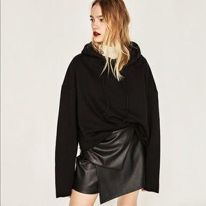 Zara Faux Leather Gathered Layered Mini Skort